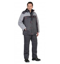 "Костюм ""ФАВОРИТ"" зимний: куртка дл., брюки тёмно-серый с серым тк. CROWN-230"
