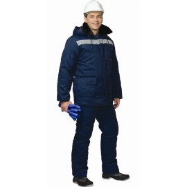 "Костюм ""СЕВЕР (МТ2-4 кл. пояс)"" зимний длинная куртка, брюки темно-синий  СОП"