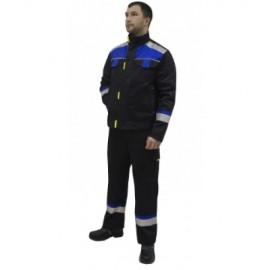 "Костюм ""БОСТОН"": куртка, п/комб. синий с вас. и чер. отд. (узб.Саржа)"
