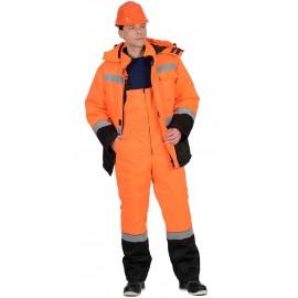 """Костюм """"МАГИСТРАЛЬ-УЛЬТРА"""" зимний: куртка, п/комб. оранжевый с черным тк. Гретта"""