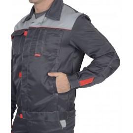 "Костюм ""ФАВОРИТ"" летний: куртка, п/комб. тёмно-серый с серым тк.""CROWN-230"""