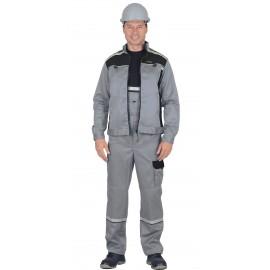 """Костюм """"ПРАКТИК""""летн.: куртка, п/к. св.серый с черным тк.CROWN-230"""