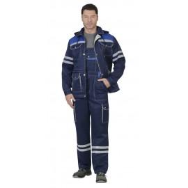 """Костюм """"ЛИДЕР""""лет :куртка, п/к.,т-синий с вас. и молоч. тк.Crown 270 и СОП 25 мм."""