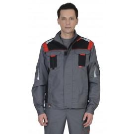 """Куртка """"СТАН"""" :  ср-серая с черной и красной отделкой"""