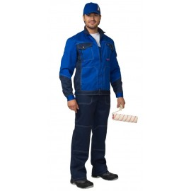 "Костюм ""ГРАНД"" летний:  куртка, полукомбинезон синий с васильковым тк. CROWN-230"
