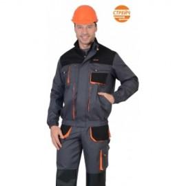 """Куртка """"МАНХЕТТЕН """"короткая темно-серая с оранжевым и черным"""