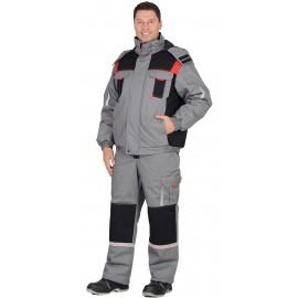 """Костюм """"Стан"""" зимний: куртка, п/к, средне-серый с черной и красной отделкой"""