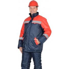 """Куртка """"Спецмонтаж"""" дл., синяя с красным и СОП"""