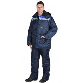 """Костюм """"СТРОЙГРАД"""" зимний: куртка длинная., брюки темно синий с васильковым и СОП"""