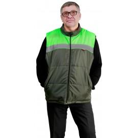 """Жилет """"ОЗЕЛЕНИТЕЛЬ"""" утеплённый темно-зелёный с салатовым и СОП 50 мм"""