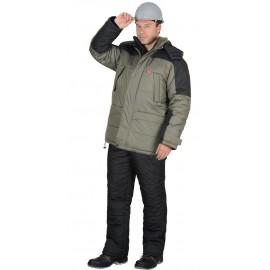 """Костюм """"Европа"""" зимний: куртка, брюки оливковый с черным"""