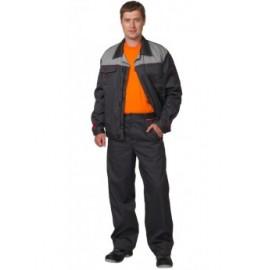 "Костюм ""ФАВОРИТ"" летний: куртка,брюки т.-серый с серым тк.CROWN-230"