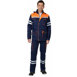 "Костюм ""ЛИДЕР"" летний: куртка, п/комб. синий с оранжевым и СОП 25 мм."