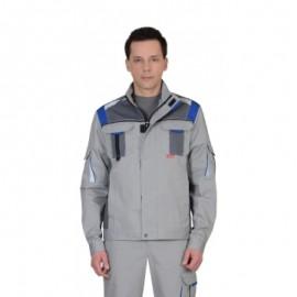 """Куртка """"СТАН"""" :  св.серая со сред.-серым и васильковым"""