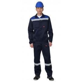 """Костюм """"Строитель"""" :куртка короткая, п/к синий с васильковым и СОП"""