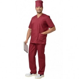 Костюм хирурга универсальный: блуза, брюки Темно-бордовый