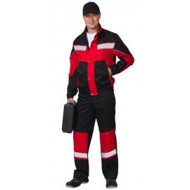 """Костюм """"ОРИОН"""": куртка, п/комб. чёрный с красным и СОП"""