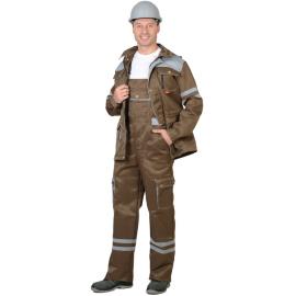 """Костюм """"ЛИДЕР"""" летний: куртка,п/к, хаки со св.серым, тк.Crown 270 и СОП 25 мм."""