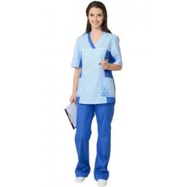 """Костюм """"ИРИНА"""" женский: куртка, брюки светло-синий с голубым"""