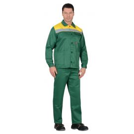 """Костюм """"СТАНДАРТ"""": куртка, брюки зеленый с желтым и СОП"""