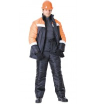 """Костюм """"ГАСТАРБАЙТЕР"""" зимний: куртка, брюки чёрный с оранжевым и СОП"""