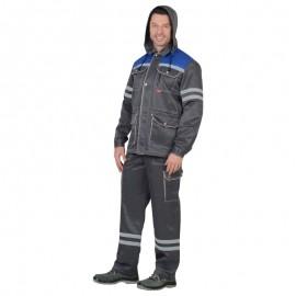 """Костюм """"ЛИДЕР"""" лет.:куртка, п/к., т-серый с вас. и молоч. тк.Crown 270 и СОП 25мм"""