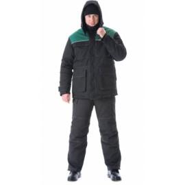 """Костюм """"СИБИРЬ"""": куртка дл.,брюки чёрный с зелёным"""