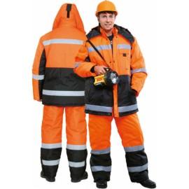 """Костюм """"МЕТЕОР"""" зимн.: куртка дл., п/комб. оранжевый с чёрным и СОП"""